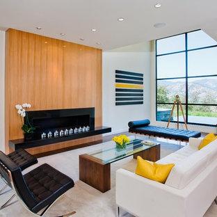 Idee per un soggiorno minimal con pareti bianche e camino lineare Ribbon