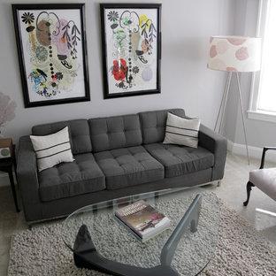 Foto di un grande soggiorno moderno chiuso con pareti grigie, sala formale, moquette, nessun camino e nessuna TV