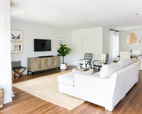 Beautiful Inspiration For A Beach Style Formal And Open Concept Dark Wood Floor And  Brown Floor Living