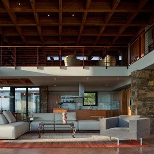 Foto di un ampio soggiorno contemporaneo aperto con pavimento in cemento, sala formale e pavimento marrone