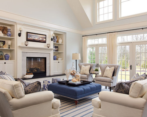 Inspiration for a large beach style enclosed living room remodel in  Portland with blue walls Beach Style Living Room Ideas   Design Photos   Houzz. Beach Living Room Design. Home Design Ideas