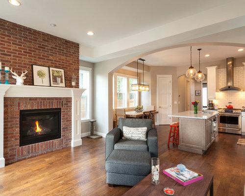 transitional open concept living room photo in denver