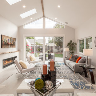Transitional gray floor living room photo in San Francisco with gray walls and a ribbon fireplace