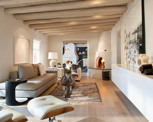 White oak floor houzz for Living room extension ideas