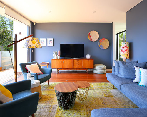 15 best midcentury modern living room ideas houzz for Modern living room blue