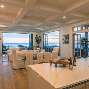 マイアミの中サイズのビーチスタイルのおしゃれなLDK (白い壁、淡色無垢フローリング、標準型暖炉、コンクリートの暖炉まわり、テレビなし、グレーの床) の写真