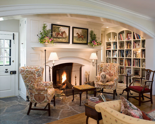 Traditional Living Room Library Idea In Philadelphia With Beige Walls A Standard Fireplace And No