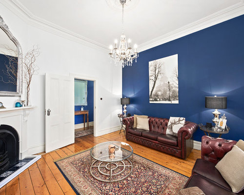 Inspiration For A Traditional Enclosed Living Room In Melbourne With Blue  Walls, Light Hardwood Floors Part 97