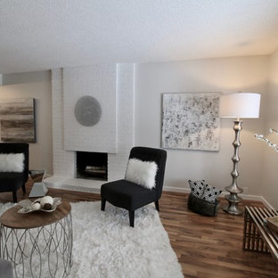 Transitional living room photo in Calgary