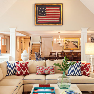 Living room - large coastal open concept living room idea in Boston with beige walls