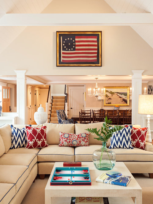 Red white and blue houzz for Red and beige living room ideas