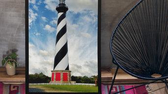 Cape Hatteras Lighthouse  Coastal Beach - Shore Landscape Photograph Wall Art