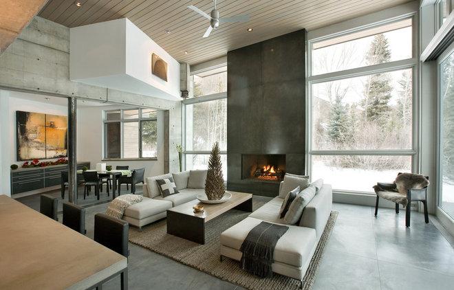 Contemporary Living Room by Kaegebein Fine Homebuilding