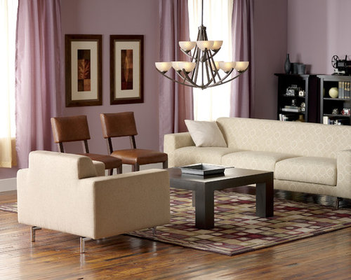 Example Of A Trendy Dark Wood Floor Living Room Design In New York With Purple  Walls Part 93