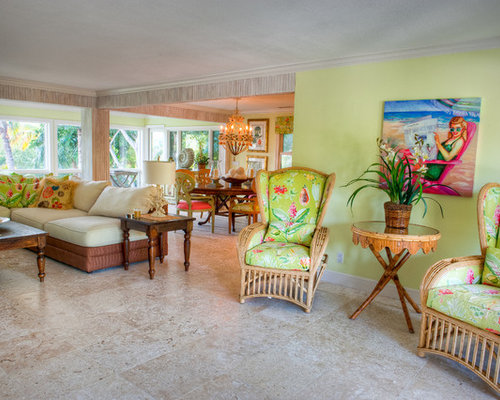 Example Of An Island Style Travertine Floor Living Room Design In Tampa  With Green Walls Part 80