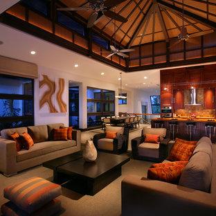 Foto di un ampio soggiorno tropicale aperto con pareti bianche, sala formale, moquette e nessuna TV