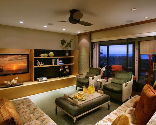 Large Contemporary Living Room Idea In Miami With A Media Wall
