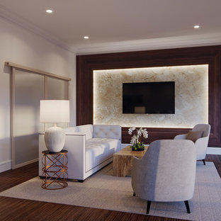 Small elegant formal and open concept painted wood floor and brown floor living room photo in New York with white walls and a wall-mounted tv