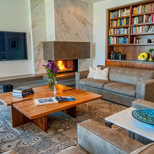 Trendy living room photo in Los Angeles with a corner fireplace