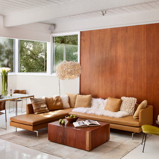 This is an example of a midcentury open concept living room in San Francisco.