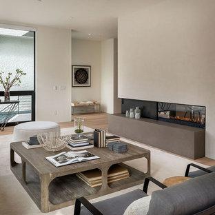 Modelo de salón moderno con paredes beige y chimenea de doble cara