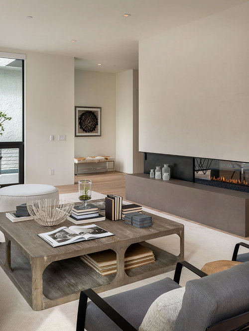 Inspiration For A Modern Living Room Remodel In San Francisco With Beige Walls And Two