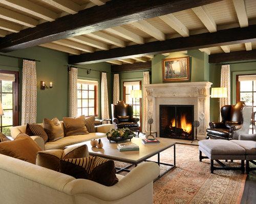 mediterrane wohnzimmer mit gr ner wandfarbe ideen design. Black Bedroom Furniture Sets. Home Design Ideas
