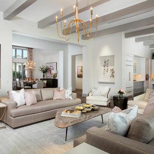 Foto de salón abierto, clásico renovado, con paredes blancas
