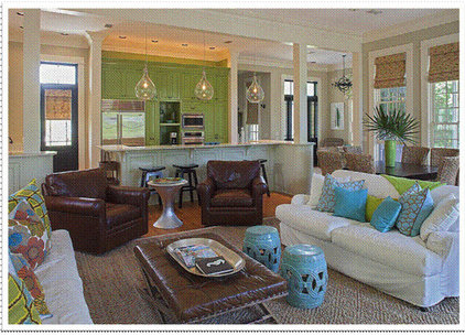 Tropical Living Room by Right Angle Interiors