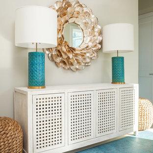 Foto di un soggiorno stile marino di medie dimensioni e aperto con pareti verdi, moquette, nessun camino e pavimento verde