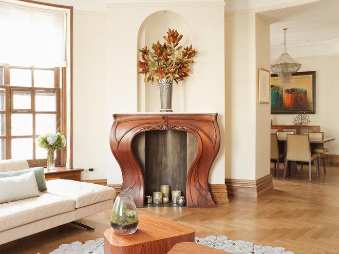 Transitional Living Room by Caroline Beaupere Design
