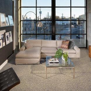Bild på ett funkis separat vardagsrum, med grå väggar, heltäckningsmatta och en fristående TV