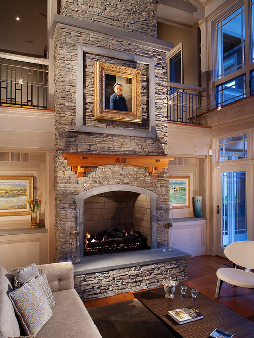 Stone Fireplace Part - 26: Traditional Living Room Idea In DC Metro With A Stone Fireplace Surround
