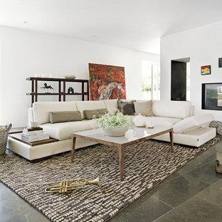 Idée de décoration pour un salon nordique de taille moyenne et fermé avec un mur blanc, une cheminée double-face et un sol gris.