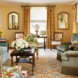 Living room - large traditional formal and enclosed living room idea in Charlotte with beige walls