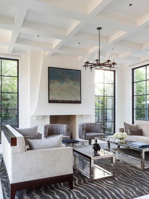 Drywall coffered ceiling houzz for Drywall designs living room