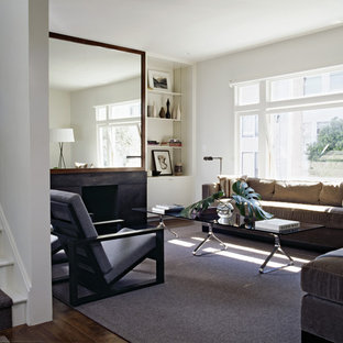 Inspiration for a transitional living room remodel in San Francisco with white walls and a standard fireplace