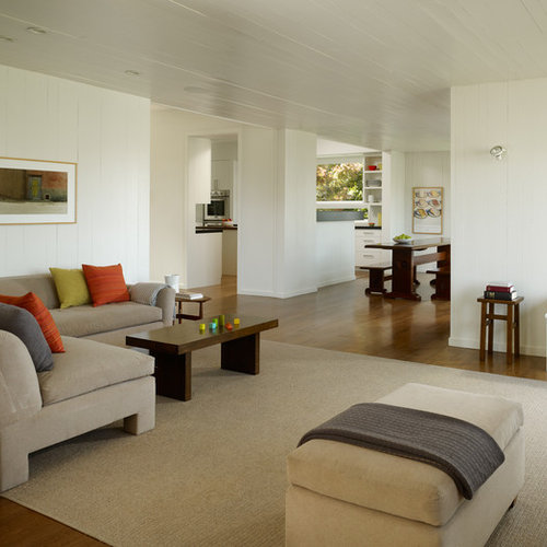 Example Of A Transitional Open Concept Living Room Design In San Francisco  With White Walls