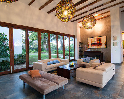 Example Of A Transitional Living Room Design In Other With White Walls Part 11