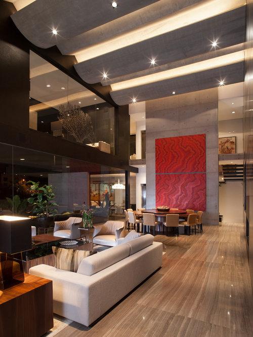 wohnidee fr moderne wohnzimmer mit schwarzer wandfarbe marmorboden und beigem boden in sonstige - Marmorboden Wohnzimmer