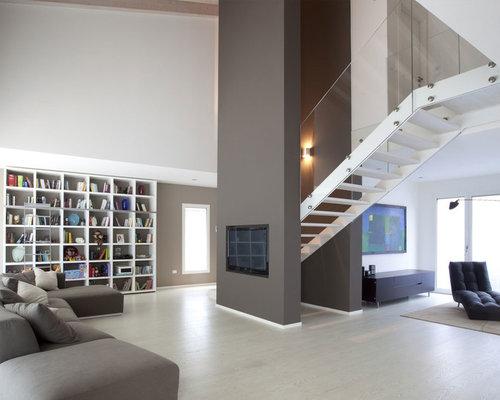 Soggiorno contemporaneo con pareti grigie - Foto e Idee per Arredare