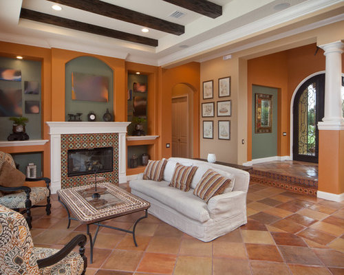 Living Room Design Ideas Renovations Photos With Terra Cotta Floors And Orange Walls