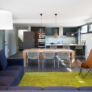 バルセロナの広いコンテンポラリースタイルのおしゃれなLDK (フォーマル、白い壁、スレートの床、暖炉なし、テレビなし) の写真