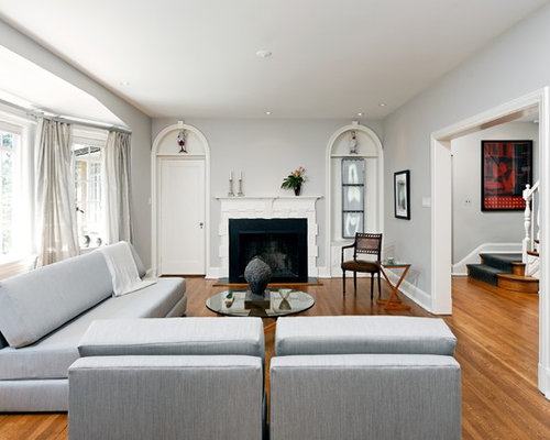 Inspiration For A Timeless Brown Floor Living Room Remodel In DC Metro With Standard Fireplace