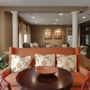 Living room - contemporary living room idea in DC Metro with beige walls