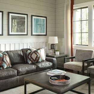 Example of a transitional dark wood floor living room design in Tampa with gray walls and no fireplace