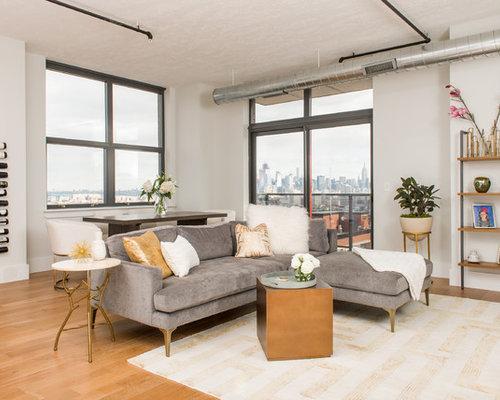 Living Room   Contemporary Open Concept Light Wood Floor And Beige Floor Living  Room Idea In