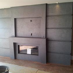 "Cast stone fireplace mantels - ""omega cast stone mantel"""