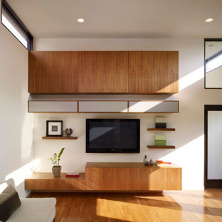 Large minimalist open concept medium tone wood floor living room photo in Los Angeles with a music area, white walls and a media wall