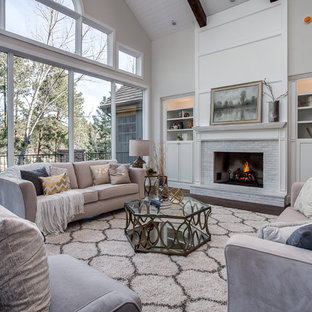 Example Of A Transitional Dark Wood Floor Living Room Design In Denver With  Beige Walls And